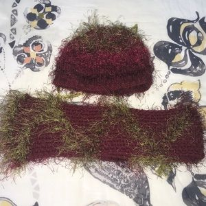 Other - Handmade Red and Green Knit Scarf and Hat Set